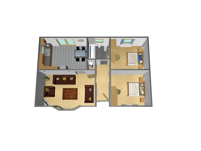 35' x 22' - 2 Bedroom
