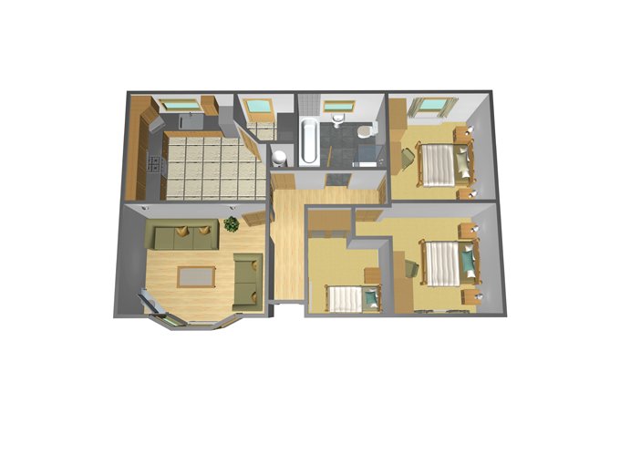 36' x 22' - 3 Bedroom
