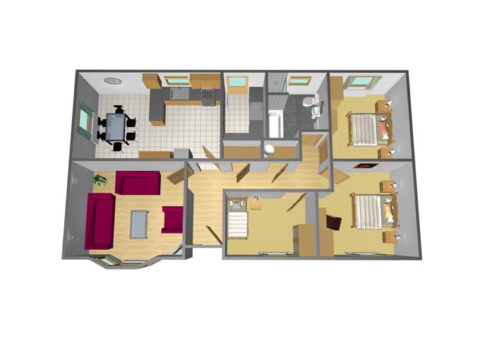 43' x 24' - 3 Bedroom