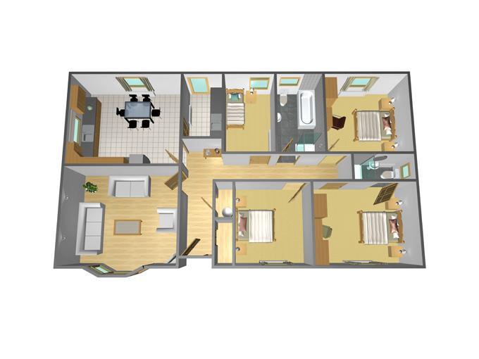 48' x 27' - 4 Bedroom