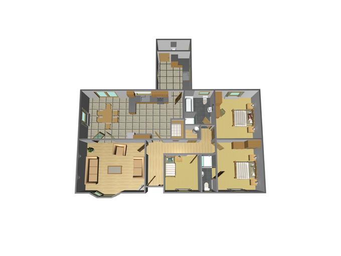 48' x 27' - 3 Bedroom + Utility
